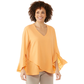 Passports Missy Asymmetric Top with Circular Flounce Sleeves