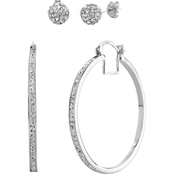 Swarovski Crystal Fireball and Round Hoop Duo Earring Set