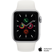 Apple Watch Series 5 GPS Silver Aluminum Case with White Sport Band