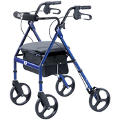 Hugo Portable Rollator Rolling Walker with Seat, Backrest and 8 in. Wheels, Blue