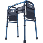 Hugo Adjustable Folding Walker With 5 in. Wheels and Plastic Glides, Sapphire Blue