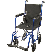 Drive Medical Lightweight Transport Wheelchair with 17 in. Seat, Blue