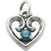 James Avery Avery Remembrance Heart Pendant with Blue Zircon