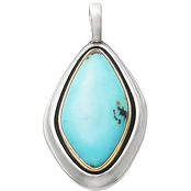 James Avery Sterling Silver, Bronze and Turquoise Puerto De Luna Pendant