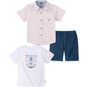 Nautica Infant Boys 3 pc. Shirt and Shorts Set