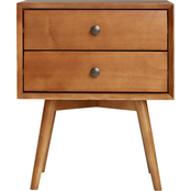 Walker Edison Mid Century Two Drawer Solid Wood Nightstand