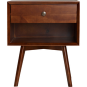 Walker Edison Mid Century One Drawer Solid Wood Nightstand