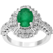 Effy 14K White Gold 1 CTW Genuine Diamond and Natural Emerald Ring Size 7
