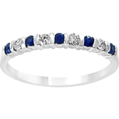Effy 14K White Gold 1/8 CTW Diamond and Natural Sapphire Anniversary Band Size 7
