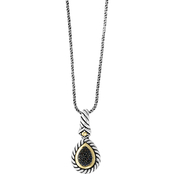 Effy Sterling Silver and 18K Yellow Gold 1/10 CTW Treated Black Diamond Pendant