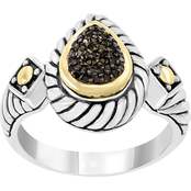 Effy Sterling Silver and 18K Yellow Gold 1/8 CTW Treated Black Diamond Ring Size 7