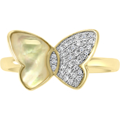 Effy 14K Yellow Gold 1/10 CTW Natural White Diamond & Mother of Pearl Ring, Size 7