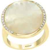 Effy 14K Yellow Gold 1/6 CTW Natural White Diamond and Mother of Pearl Ring Size 7