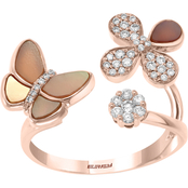 Effy 14K Rose Gold 1/4 CTW Diamond And Mother Of Pearl Ring Size 7