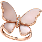Effy 14K Rose Gold Diamond Accent Mother Of Pearl Ring