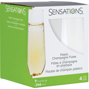 Sensations Stemless Clear Plastic Champagne Glasses, 9 oz. / 4 ct.
