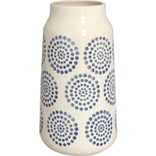 Simply Perfect White/Indigo Pattern Ceramic Vase