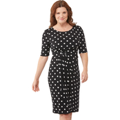 Connected Apparel Dot Jersey Side Wrap Dress