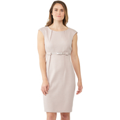 Connected Apparel Empire Belted Sheath Dress
