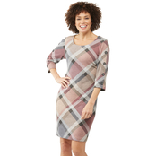 Connected Apparel Bias Plaid Sweater Dress