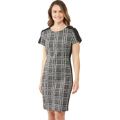 Connected Apparel Plaid Sheath Dress with Side Stripe