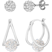 Sterling Silver Crystal Ball Stud and Crystal Split Hoop Duo Earring Set