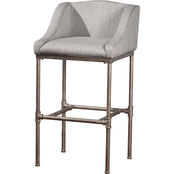 Hillsdale Dillon Non Swivel Counter Height Stool Charcoal Faux Leather
