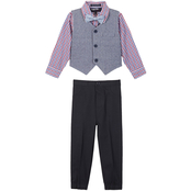 Happy Fella Toddler Boys 4 pc. Checkered Dressy Casual Vest Set
