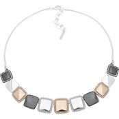 Nine West Tritone Crystal Square Frontal Necklace