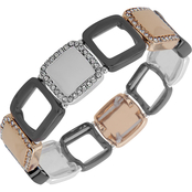 Nine West Tritone Crystal Square Wide Stretch Bracelet