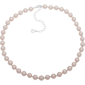 Anne Klein Silvertone Pink Glass and Pearl Collar Necklace