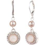 Anne Klein Silvertone Glass Pink Pearl Double Drop Earrings