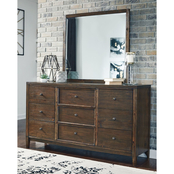Signature Design by Ashley Kisper 9 Drawer Dresser and Mirror Set