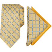 Nautica Harlan Grid Tie and 2 Pocket Squares Set