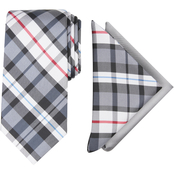 Nautica Roslyn Plaid Tie and Two Pocket Squares Set