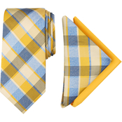 Perry Ellis Bailey Plaid Tie and Two Pocket Square, 3 pc. Set