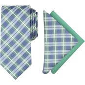 Nautica Connolly Plaid Tie and Two Pocket Squares Set