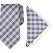 Nautica Lanier Plaid Tie and 2 Pocket Squares Set