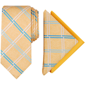 Perry Ellis Nova Grid Tie and Two Pocket Square, 3 pc. Set
