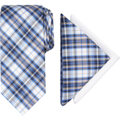 Nautica Marshall Plaid Tie and Two Pocket Squares Set
