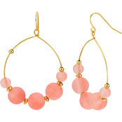 Carol Dauplaise Goldtone Coral Glass Beaded Hoop Earrings