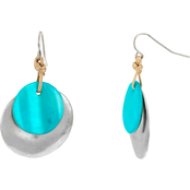 Carol Dauplaise Silvertone Turquoise Shell and Overlay Drop Earring