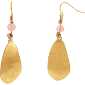 Carol Dauplaise Goldtone Coral Glass Bead Double Drop Earrings