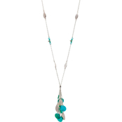 Carol Dauplaise Silvertone Turquoise Shell Long Tassel Necklace
