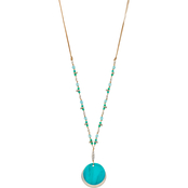 Carol Dauplaise Silvertone Turquoise Shell and Beads Pendant