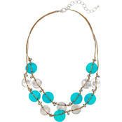 Carol Dauplaise Silvertone 2-Row Turquoise Color Shell Woven Necklace