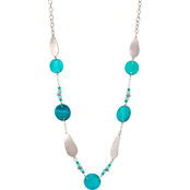 Carol Dauplaise Silvertone Turquoise Shell Long Station Necklace