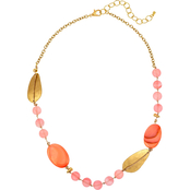 Carol Dauplaise Short Goldtone Knotted Coral Bead Necklace