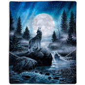Lavish Home Sherpa Howling Wolf Fleece Blanket