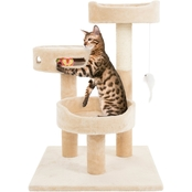 Petmaker Cat Tree 3 Tier 2 Hanging Toys and 3 Ball Play Area and Scratching Post